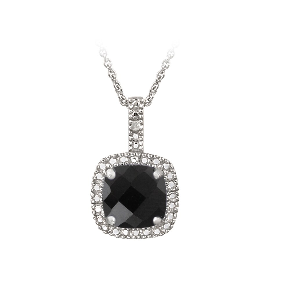 Glitzy Rocks Sterling Silver Black Spinel and Diamond Accent Necklace