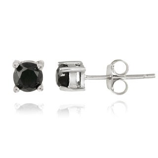 DB Designs Sterling Silver 1/8ct TDW Black Diamond Stud Earrings