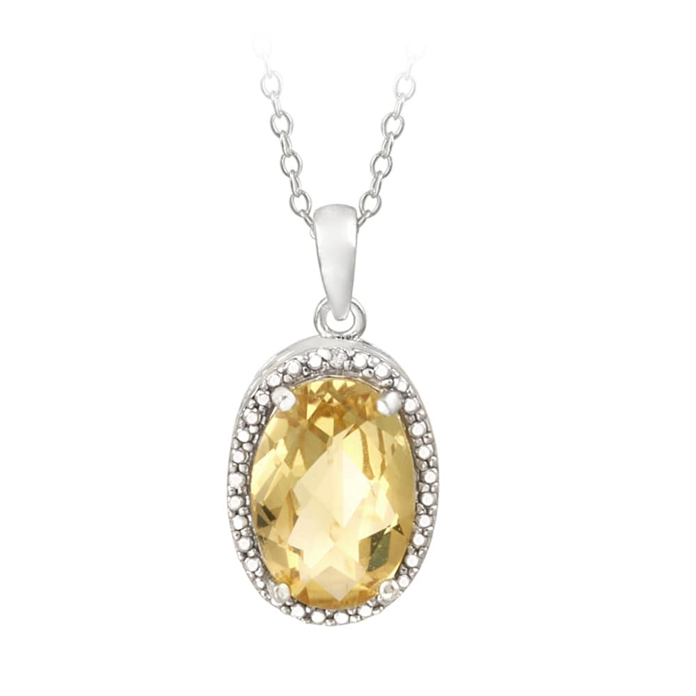 Glitzy Rocks Sterling Silver Citrine and Diamond Accent Necklace (4ct TGW)