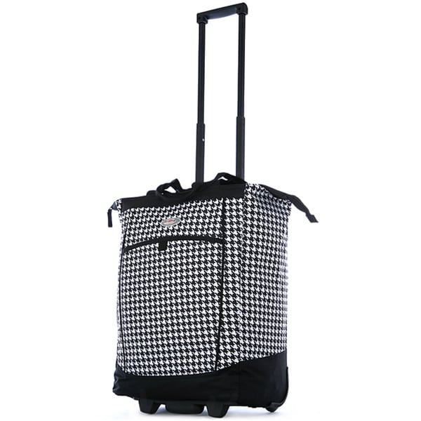 Olympia 20-inch Black and White Houndstooth Rolling Shopper Tote