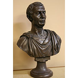 White Bonded-marble Julius Caesar Decorative Bust with Bronze Finish
