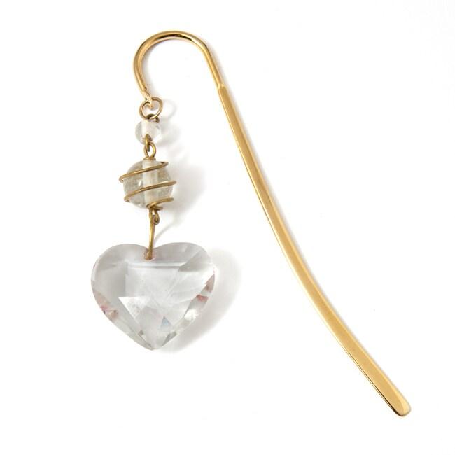 Goldtone Glass Heart Bookmark (India)