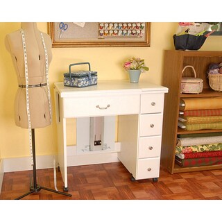 Arrow 'Auntie Em' White Crafts & Sewing Machine Table with Storage and Organization Cabinet