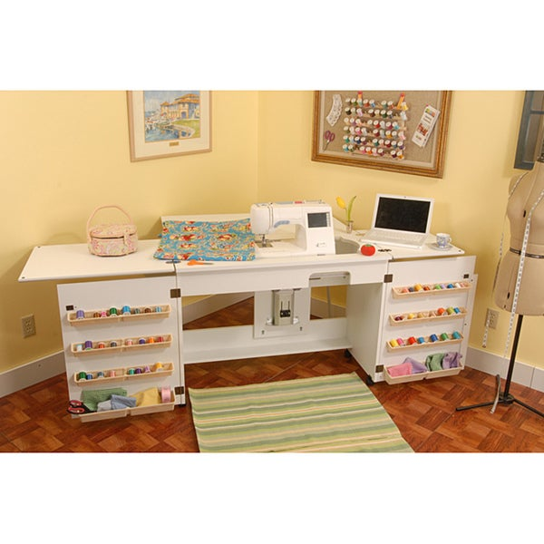 Arrow 'Bertha' White Airlift Crafts & Sewing Machine Table with Storage and Organization Cabinet