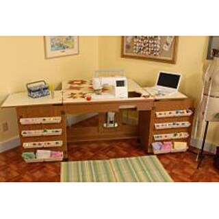 Arrow 'Bertha' Oak Finish Airlift Crafts/ Sewing Machine Table with Storage and Organization Cabinet
