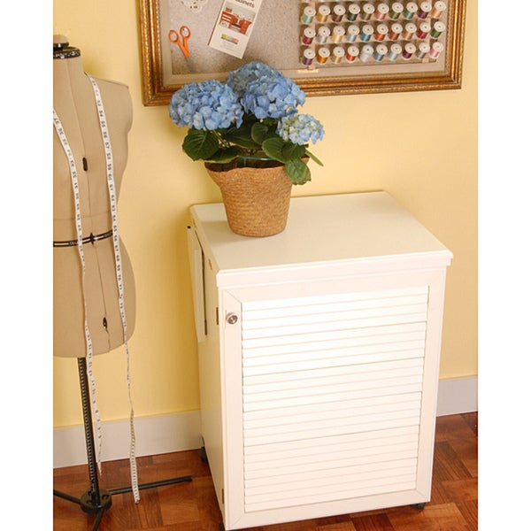 Arrow 'Sewnatra' White Airlift Crafts & Sewing Machine Table with Storage and Organization Cabinet