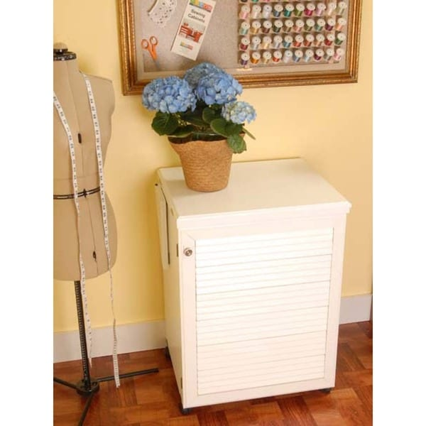 Arrow 'Sewnatra' White Airlift Crafts & Sewing Machine Table Furniture Storage Cabinet -  Arrow Sewing Cabinets, 501