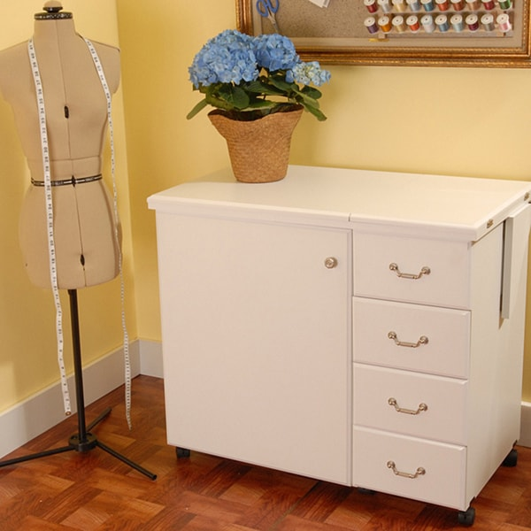 Arrow Marilyn White Sewing Machine Cabinet with Airlift and Storage Kit by Exponential