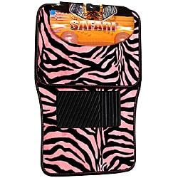 Oxgord Safari Pink Zebra 4-piece Car Floor Mat Set