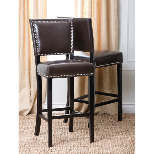 Abbyson Napa Brown Bicast Leather Bar Stools (Set of 2)