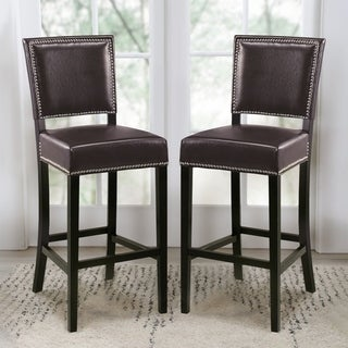 Abbyson Napa 30-inch Brown Bicast Leather Bar Stools (Set of 2)