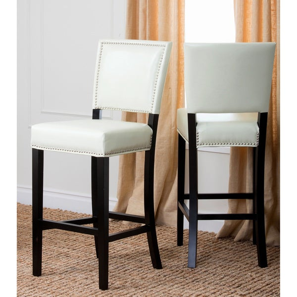 Abbyson Napa Ivory Leather Bar Stools (Set of 2)