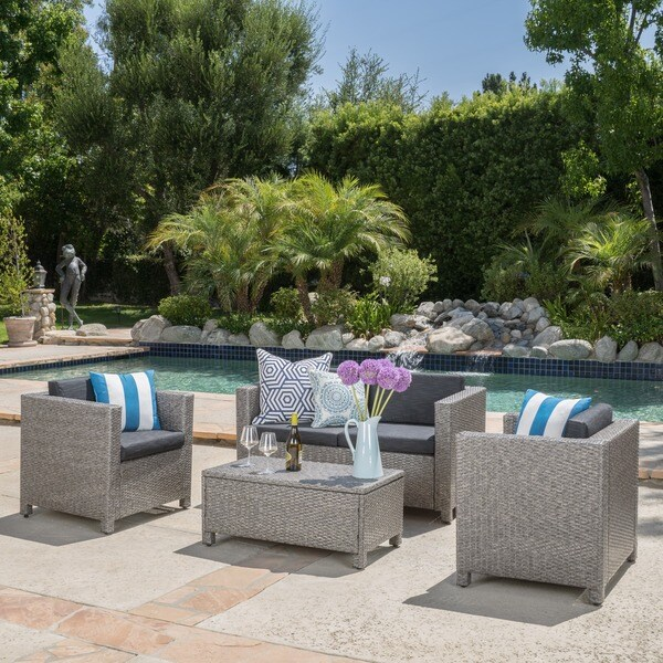 Puerta Grey Outdoor Wicker Sofa Set by Christopher Knight Home