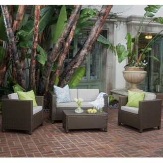 Puerta Outdoor 4-piece Sofa Set by Christopher Knight Home (Option: Dark Brown Wicker with Beige Cushions)