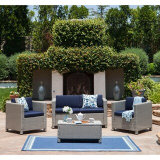 Puerta Outdoor 4-piece Sofa Set by Christopher Knight Home (Option: Grey Wicker with Mixed Black Cushions)