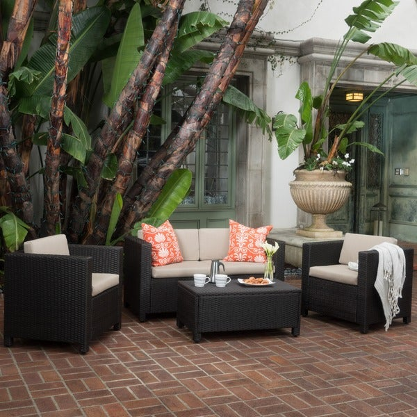 Puerta Outdoor Wicker Sofa Set By Christopher Knight Home