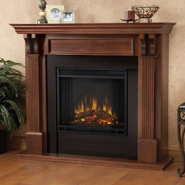 Real Flame Ashley Mahogany 48.03 in. L x 13.78 W x 41.25 in. H Electric Fireplace