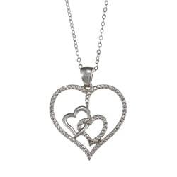 La Preciosa Sterling Silver Cubic Zirconia Double Heart Necklace