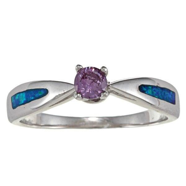 La Preciosa Sterling Silver Created Blue Opal and Purple CZ Ring