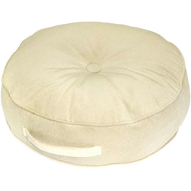 Cream Microfiber 20-inch Round Floor Pillow