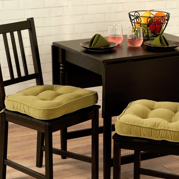 Nylon Microfiber Solid Moss Chair Pads (Set of 2)