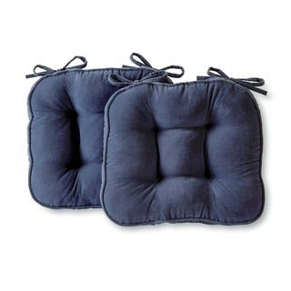 Nylon Microfiber Solid Denim Chair Pads (Set of 2)