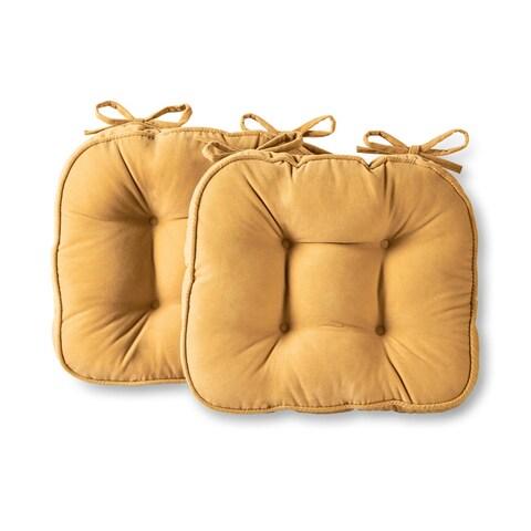 Greendale Home Fashions Cream Hyatt Microfiber Chair Pads (Set of 2)