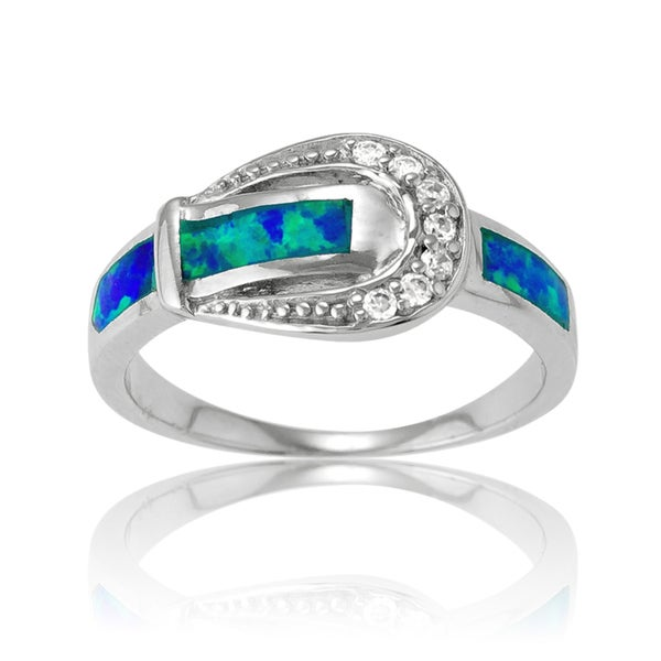 La Preciosa Sterling Silver Created Blue Opal and CZ Buckle Ring