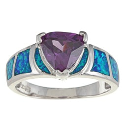La Preciosa Sterling Silver Purple Trillion-cut CZ and Created Blue Opal Ring