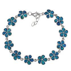 La Preciosa Sterling Silver Created Blue Opal Flower Link Bracelet