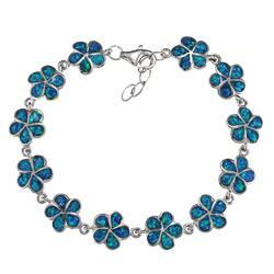La Preciosa Sterling Silver Created Blue Opal Flower Link Bracelet|https://ak1.ostkcdn.com/images/products/6518755/La-Preciosa-Sterling-Silver-Created-Blue-Opal-Flower-Link-Bracelet-P14105138.jpg?impolicy=medium