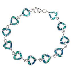 La Preciosa Silver Created Blue Opal Open Heart Link Bracelet