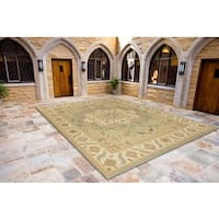 Hand-Knotted Floral Blue Area Rug (9' X 12')