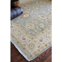 Hand-Knotted Floral Green Area Rug - 10' x 14'