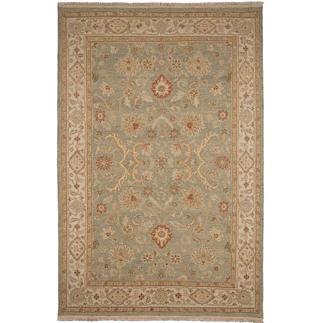Hand-Knotted Floral Green Area Rug (6' X 9')