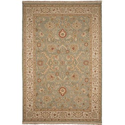 Hand-Knotted Floral Green Area Rug (6' X 9') - Thumbnail 0