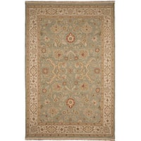 Hand-Knotted Floral Green Area Rug (6' X 9') - 6' x 9'