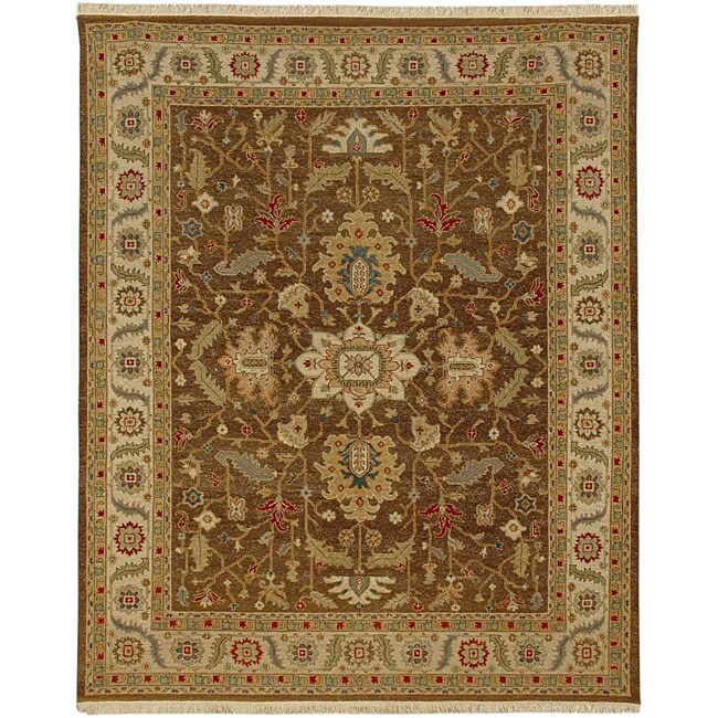 Hand-Knotted Floral Brown Area Rug (6' X 9') - 6' x 9'
