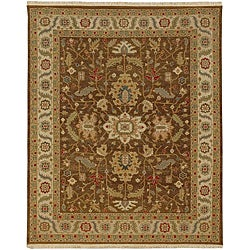 Hand-Knotted Floral Brown Area Rug (6' X 9') - Thumbnail 0