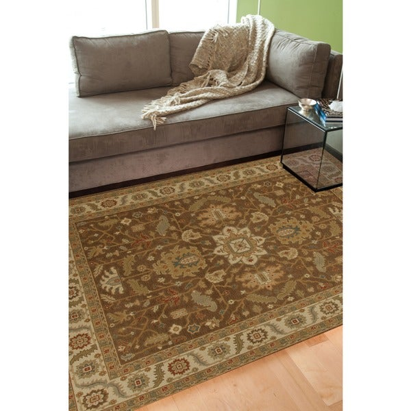 Hand-Knotted Floral Brown Area Rug (8' X 10')
