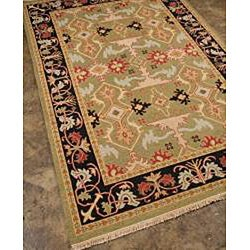 Traditional Hand-Knotted Green/Red Wool Rug (2' x 3')