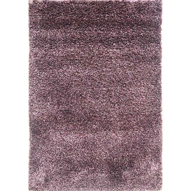 Hand-woven Plum Wool-blend Shag Rug (8' x 10')