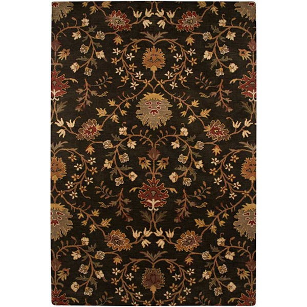 Hand-tufted Black Floral Wool Rug (8' x 11')