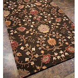Hand-tufted Black Floral Wool Area Rug (9'6 x 13'6)