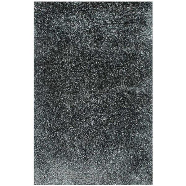 Hand-woven Grey Shag Rug (2' x 3')