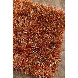 Hand-woven Red Shag Rug (5' x 8') - Thumbnail 1