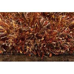 Hand-woven Red Shag Rug (5' x 8') - Thumbnail 2
