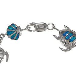 La Preciosa Sterling Silver Created Blue Opal Tortoise and Shell Bracelet - Thumbnail 1