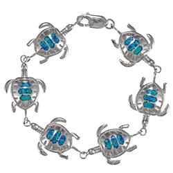 La Preciosa Sterling Silver Created Blue Opal Tortoise Bracelet