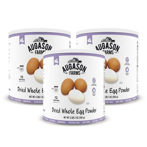 Augason Farms Dried Whole Egg Powder Certified Gluten Free Emergency Food Supply Everyday Use Camping No. 10 Cans (3 Pack)